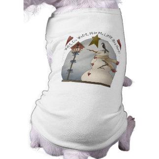 Camisa linda del perro del muñeco de nieve del