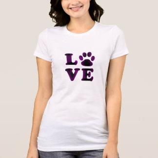 Camisa púrpura del amor del perro o del gato de la