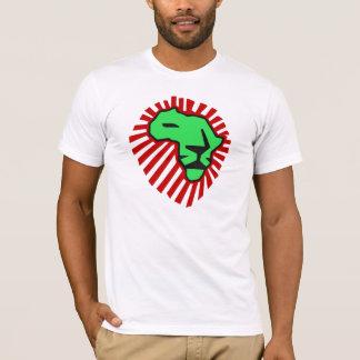 Camisa roja de África del león del verde de la