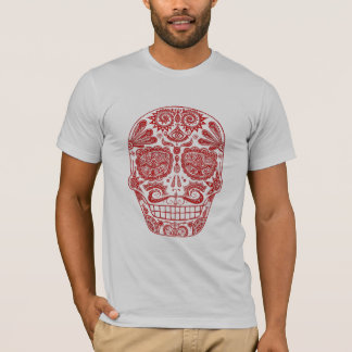 Camisa roja del cráneo del azúcar
