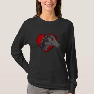 Camisa roja del perro del corazón de la cara azul