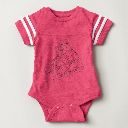 Camisa rosada del bebé del patín del hockey