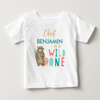 Camisa salvaje del cumpleaños del oso tribal una