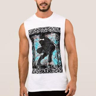 Camisa sin mangas de la impresión blanca de Ninja