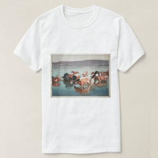 Camiseta 沼崎牧場の昼, vacas, Hiroshi Yoshida, grabar en madera