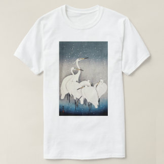 Camiseta 白鷺の群れ, grupo de Egrets, Ohara Koson, grabar en