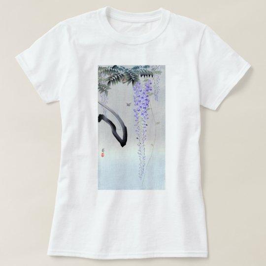 Camiseta 藤の花, glicinia floreciente del 古邨, Ohara Koson,