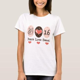 Camiseta 16 del dulce dieciséis del amor de la paz