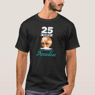 Camiseta 25to aniversario de boda de la plata tropical de