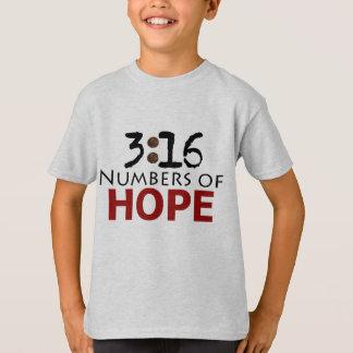 Camiseta 3:16 de Juan, números de mensaje del cristiano de