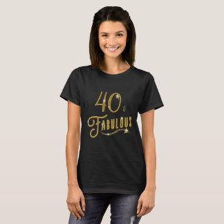 Camiseta 40 cuarenta y celebración fabulosa del cumpleaños
