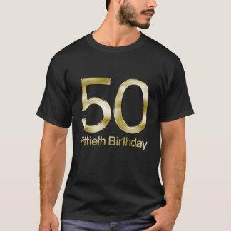 Camiseta 50.o Cumpleaños, encanto negro elegante del oro