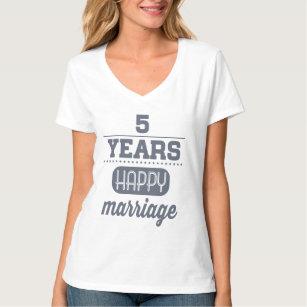 Camiseta 5 años de boda feliz
