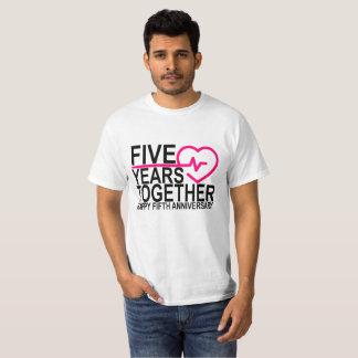 Camiseta 5to Aniversario 5 años junto.
