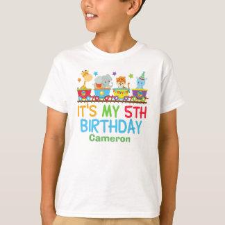 Camiseta 5to cumpleaños de circo del tren de encargo lindo