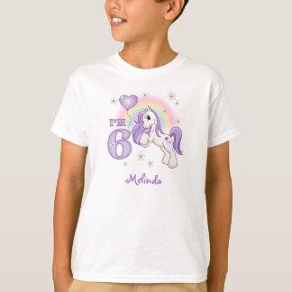 Camiseta 6to cumpleaños del potro bonito personalizado