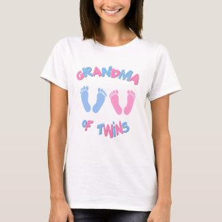Camiseta Abuela de las huellas gemelas de los bebés