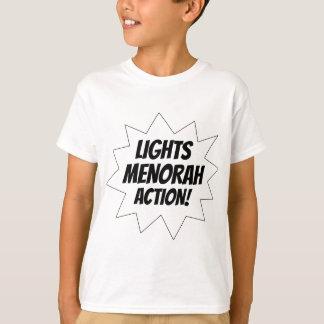Camiseta Acción de Menorah de las luces - negro