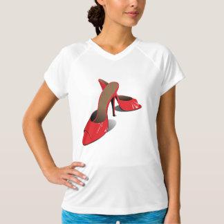 Camiseta activa para mujer roja de los zapatos de