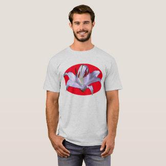 Camiseta Adorno oval rojo del lirio blanco en el gris 6x