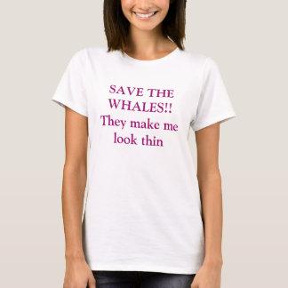 Camiseta ¡AHORRE LAS BALLENAS!! Hacen que mira ligeramente