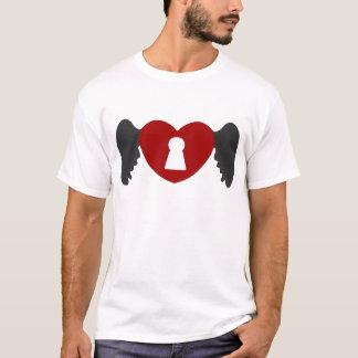 Camiseta Ala del corazón del ojo de la cerradura Gris-Roja