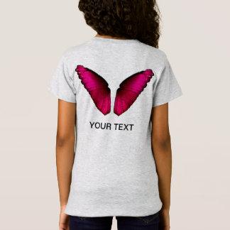 Camiseta alas rosadas de la mariposa
