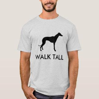 Camiseta alta de la silueta del galgo del paseo