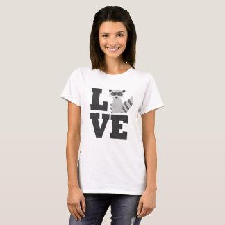 Camiseta Amante lindo del mapache del dibujo animado de los