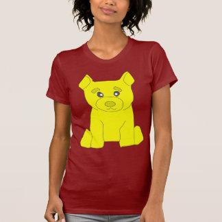 Camiseta amarilla del rojo de las mujeres del oso