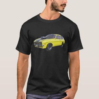 Camiseta Amarillo del coche de 1970 músculos con la raya