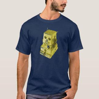 Camiseta Amarillo retro del juguete del robot en azul