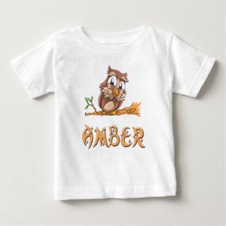 Camiseta ambarina del bebé del búho