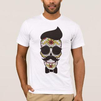 Camiseta American Apparel: Cráneo del azúcar con el bigote