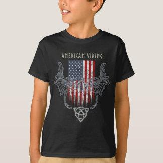 Camiseta Americano Viking. Bandera, casco apenado, céltico