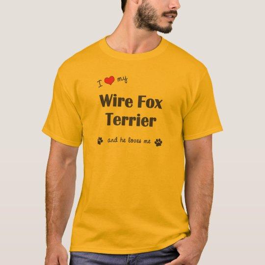 Camiseta Amo a mi fox terrier del alambre (el perro
