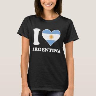 Camiseta Amo el corazón argentino de la bandera de la