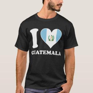 Camiseta Amo el corazón guatemalteco de la bandera de