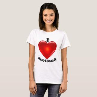 Camiseta Amo Escocia, corazón rojo grande del amor