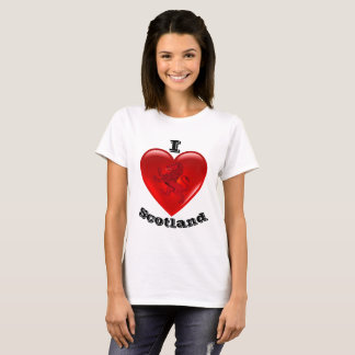 Camiseta Amo Escocia, león desenfrenado, corazón rojo del