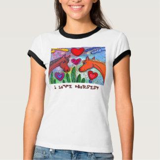 Camiseta Amo la bahía T de los caballos