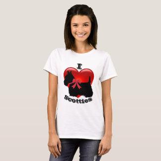 Camiseta Amo los terrieres escoceses, corazón rojo grande