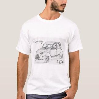 """Camiseta """"Amo mi 2-CV"""". Bosquejo de Citroen 2-CV en la"""