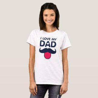Camiseta Amo mi icono lindo del bigote del papá