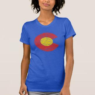 Camiseta Amor de Denver del Grunge de la bandera del estado