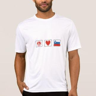 Camiseta Amor de la paz y cuadrados de Eslovenia