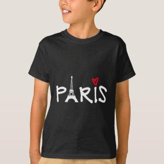 Camiseta Amor París con la torre Eiffel y el corazón rojo