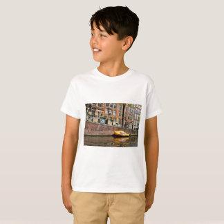 Camiseta Amsterdam, canal, barco de madera del zapato