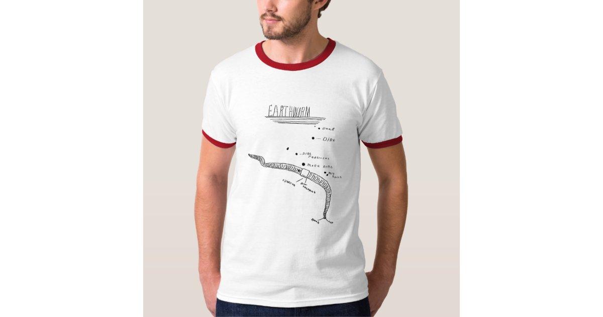 Camiseta anatomía de la lombriz de tierra | Zazzle.es