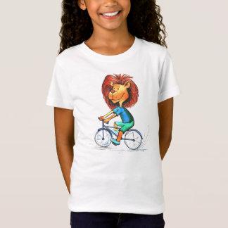 Camiseta animada del paseo de la bici del león del